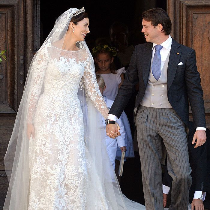 Felix couldn't take his eyes of his bride, who looked stunning in an Elie Saab creation.