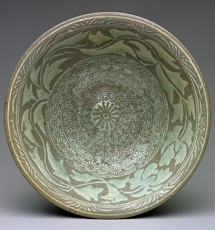 Bowl - Period: Joseon dynasty (1392–1910) Korea | Buncheong ware with inlaid and stamped decoration of peony leaves and chrysanthemums.