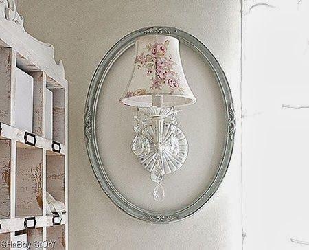 Frame around wall lamp via 'floor chandelier and church pew'    shabby story.com