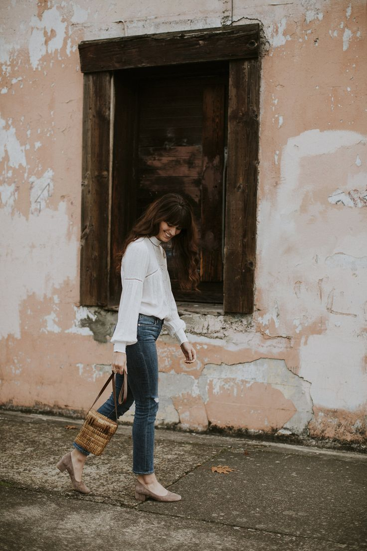 Suede shoes, jeans and Bohemian blouse
