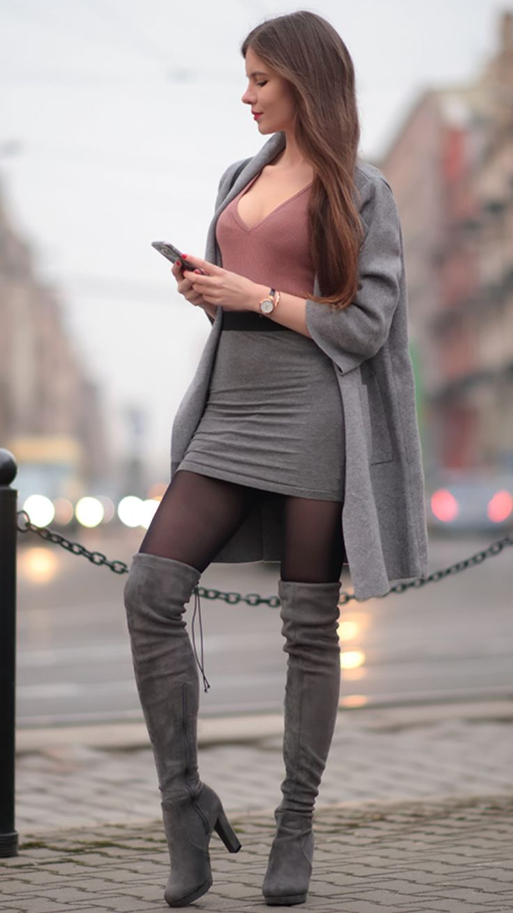 Gray coat pastel sweater gray mini skirt and suede boots behind the knee -  As first seen on blog Help! I have nothing to wear: Gray coat pastel sweater gray mini skirt and suede boots behind the knee  She is wearing tights similar here: Wolford Velvet De Luxe 50 Tights Velvety soft opaque design has a smooth matte look with excellent stretch.  #tights #pantyhose #hosiery #nylons #tightslover #pantyhoselover #nylonlover #legs