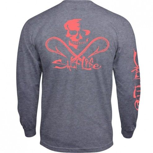 Neon Skull and Hooks Long Sleeve Pocket Tee // Salt Life Shirt