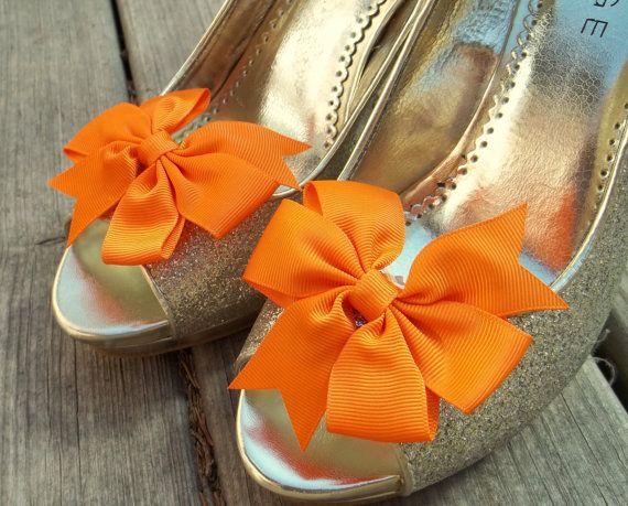Clips de chaussure de mariage, chaussure mariée Clips, gros-grain Bow Shoe Clips, Clips de chaussure Orange, Orange arcs, Shoe Clips pour chaussures de mariage,