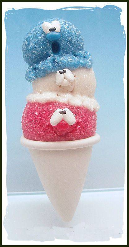 Polymer Clay Triple Scoop Patriotic SnoCone Magnet by Clayful Creations