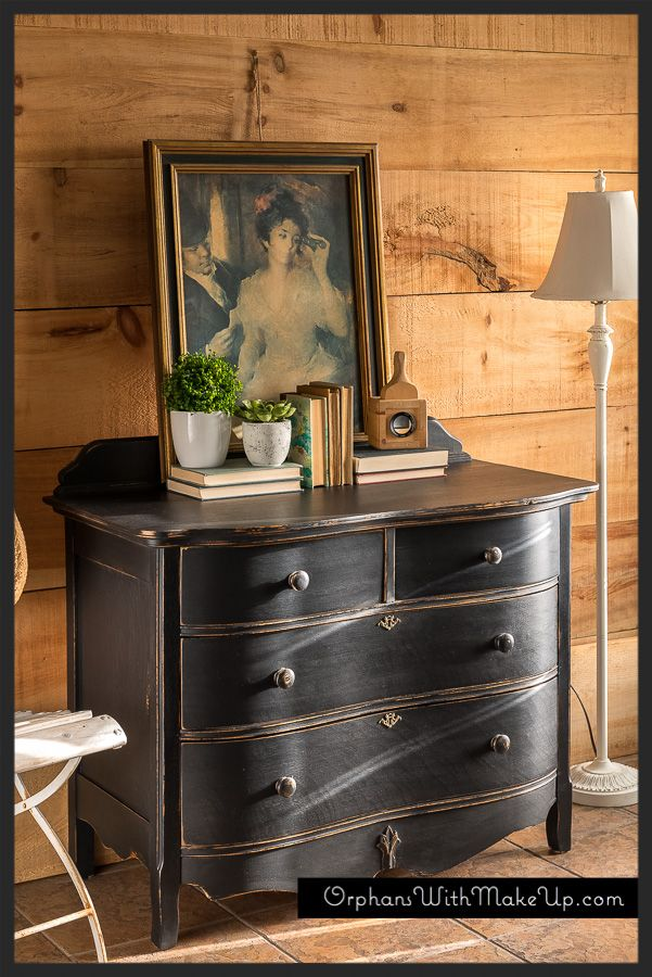 """Oak dresser finished in """"Liquorice"""" Country Chic Paint."""