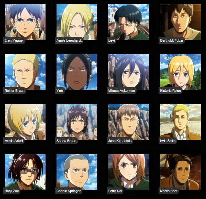 Some Of The Characters From An Amazing Anime Show Attack On Titan