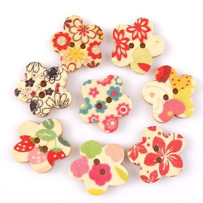 50pcs 10433 New Flower Colorful Sew-on Flatback Wooden Buttons Charms