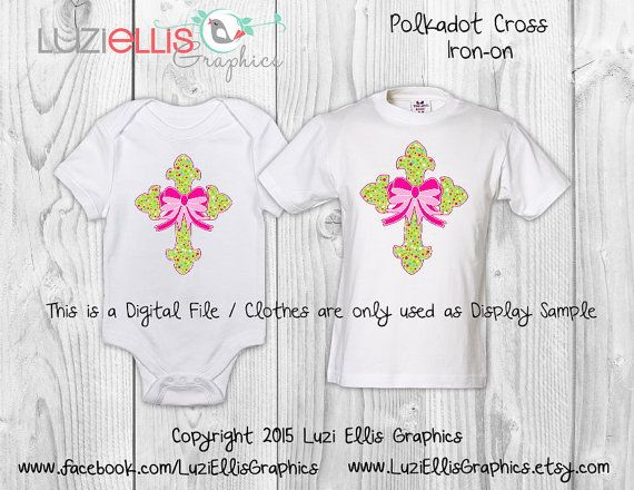 Print your own Iron on  Polkadot Cross by LuziEllisGraphics