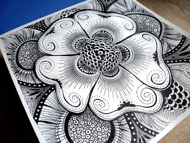 Line Drawing Flower Images : Flower tribal design clipart best art loversiq