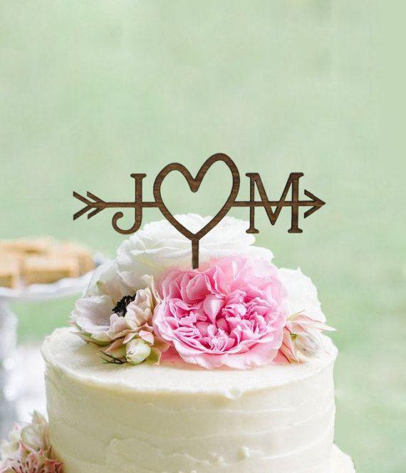 Matrimonio rustico freccia Cake Topper | Cake Topper personalizzato | Spiaggia di nozze | Topper torta nuziale doccia |  Paese rustico Chic Wedding Cake Topper