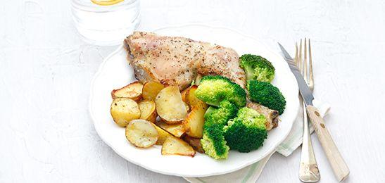 Kip met aardappelen in de oven