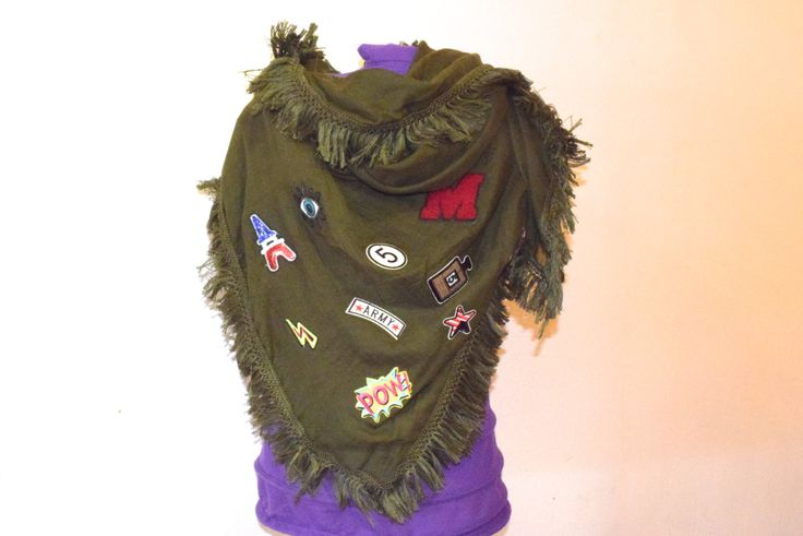 Verde militar scarf patches colors, pañuelo para el cuello con parches de moda hasta seis colores diferentes, fular, beach wrap, loincloth
