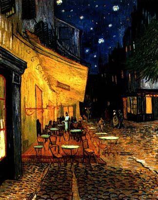 """고흐의 '밤의 카페 테라스'.  고흐 그림  중 가장 좋아하는 작품이다.  고흐가 1888년 5월부터 9월 18일까지 하루 1프랑을 주고 하숙하였던 아를의 카페 드 라르카사르이다. 고흐는 """"나는 간혹 낮보다는 밤이 더 생동감이 있어, 색채가 넘치고 있는 것처럼 생각한다"""",   """"카페가 사람들을 망가뜨리고 미치게 하며, 범죄를 저지를 수 있는 장소일 수 있다""""고 말한 바 있다.   그의 이런 생각을 빨강·노랑·초록의 무서운 대비에 의해서 표현하고자 한 의도가 이 그림의 화면에   넘쳐흐르고 있다. 그것은 그의 창작 의도라기보다는 이 밝은 아를의 환경에서도 과로 때문에 점점   정신이 이상과민성으로 기울어져가는 고흐의 육체적·정신적 상태를 그대로 표현하였다."""