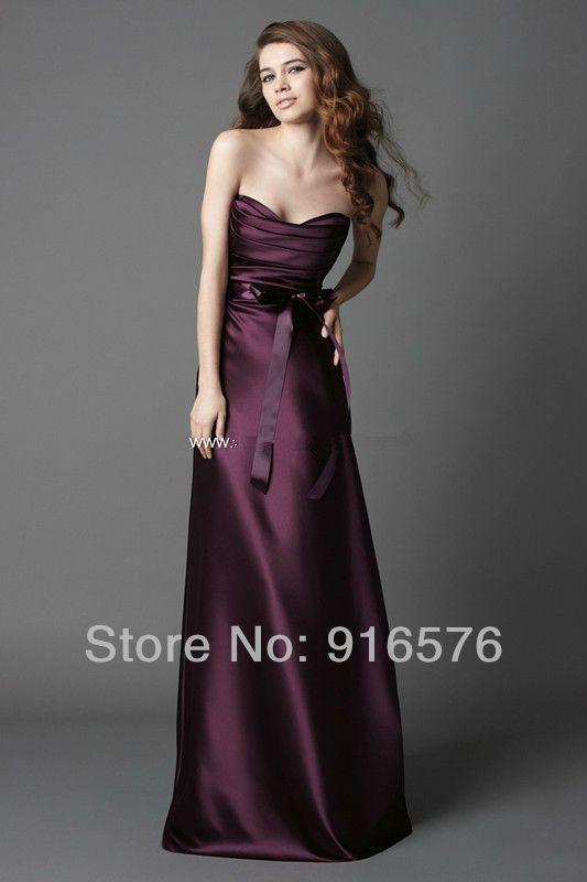 Vestido Bridemaid roxo Vestidos de Noite 2013 Fita de Seda Da Fita Plissada Querida Império Uma Linha Até O Chão Querida em Vestidos de dama de honra de Casamentos & Eventos no AliExpress.com | Alibaba Group