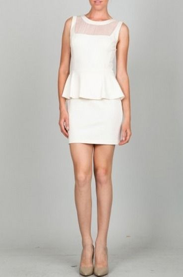 BohoPink - Eva Off White Peplum Dress With Chiffon Detail, $39.00 (http://www.bohopink.com/eva-off-white-peplum-dress-with-chiffon-detail/)
