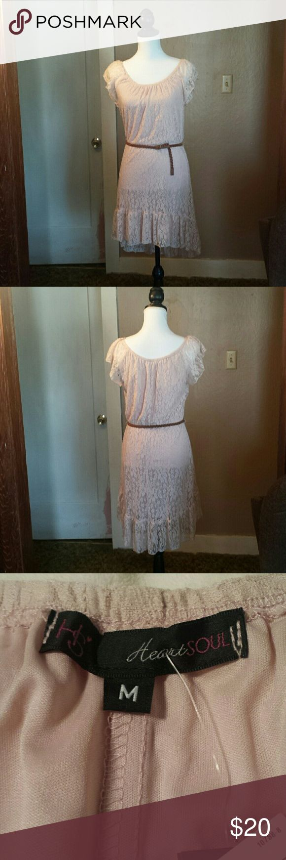 NWT HeartSoul Blush Lace Dress with Belt SZ M NWT This blush lace dress with tan braided leather belt is made by HeartSoul. This dress is a size Medium. This dress has cap sleeves, scoop neckline, elastic waistline, and a high low skirt. This dress is lined. In brand new condition. HeartSoul Dresses Midi