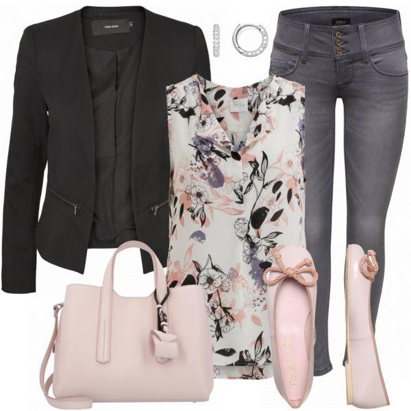 Solo traje de ballet rosado, jean denim, blusa estampada, blazer nehra, …   – Outfits