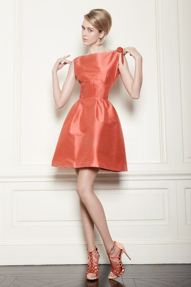 Orange silk taffeta cocktail dress