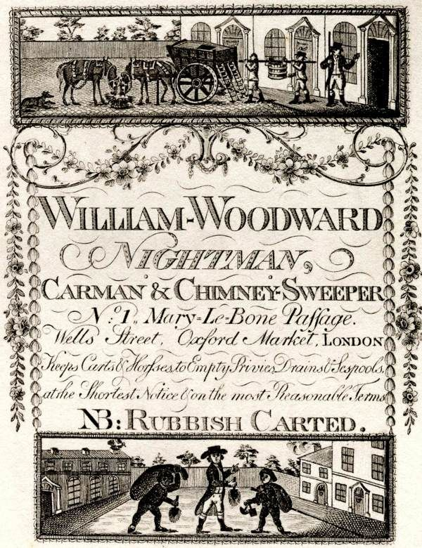 """18th century trade card: """"Nightman, Carman & Chimney-Sweeper No.1 Mary-Le-Bone Passage. Wells Street, Oxford Market, London. Keeps Carts & Horses to Empty Privies, Drains & Sespools, at the Shortest Notice & on the most Reasonable Terms. NB: Rubbish Carted."""""""