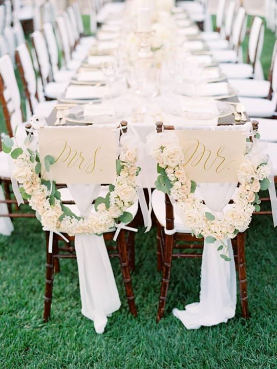 For A White And Pink Wedding Sign Garland Decorate The Chairs