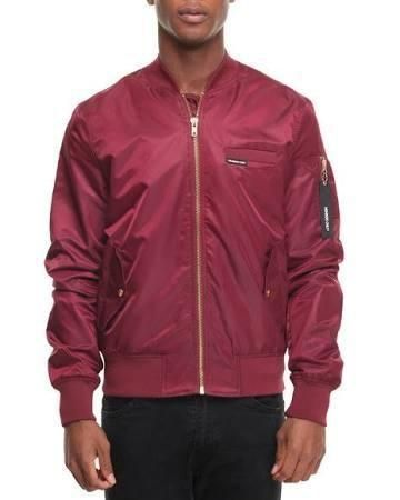 Members Only Men Ma-1 Bomber Jacket - Outerwear Maroon Large - Brought to you by Avarsha.com