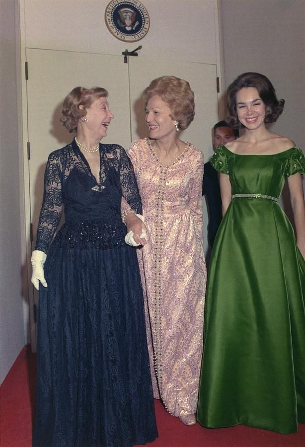 Julie Nixon Eisenhower with her Grandmother-in-law former First Lady Mamie Eisenhower and her mother First Lady Pat Nixon. Ca. 1970. (photo: Everett)