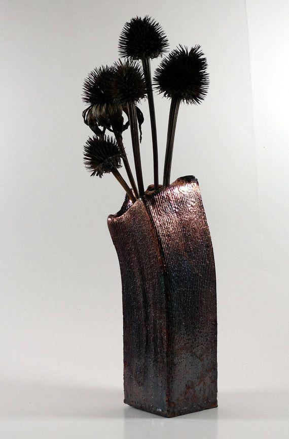 Textured Metallic Raku Vase, $45