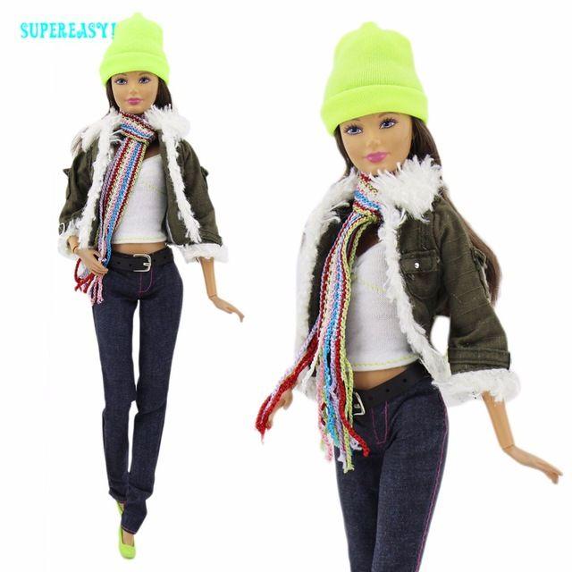 Зимняя Мода Современной Одежды Повседневная Одежда Армия Зеленый Пальто Куртки шарф Рубашка Шляпа Ремень Брюки Обувь Для Barbie Doll Clothes подарок