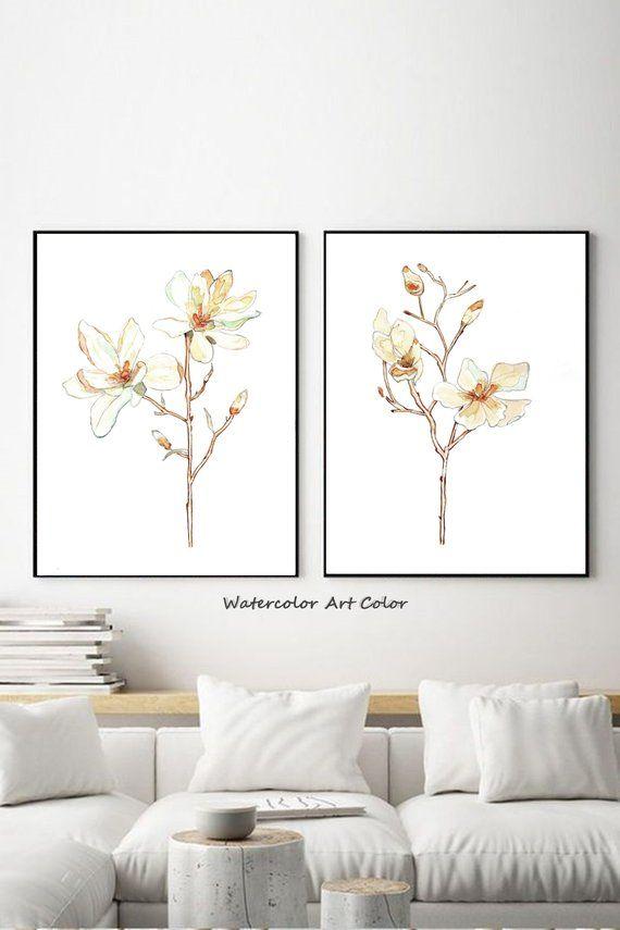 Magnolia Watercolor Painting Set Two Art Prints Large Poster Watercolor Painting Smooth Colors Bedroom Wall Decor Art Floral Art Prints Floral Prints Art Watercolor Paint Set Floral Art