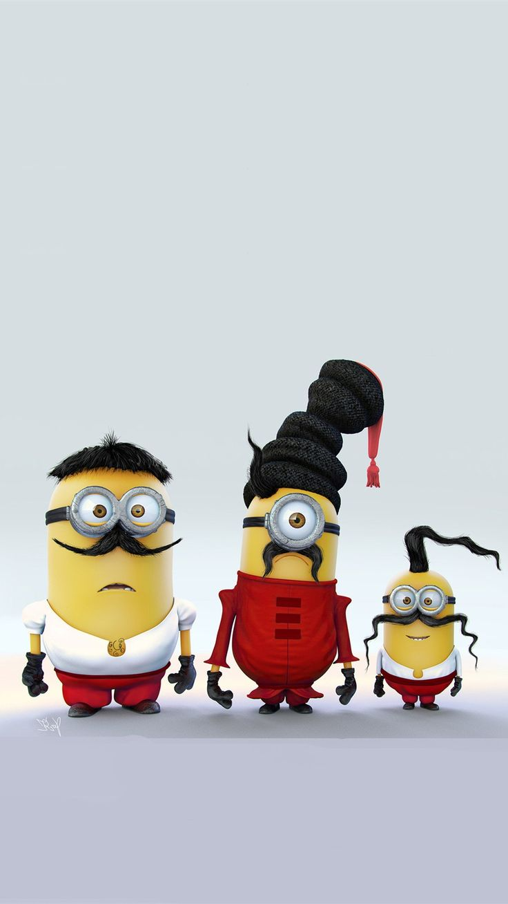 Minions with Mustache Family iPhone 6 Plus Wallpaper - HD, 2014 Halloween, Despicable Me #iphone #wallpaper