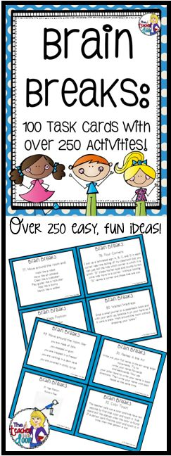 Updated! These 100 Brain Breaks task cards have over 250 quick, easy, creative ideas to help your kids focus. Loaded with activities to help your kids get their wiggles out and be better learners. (TpT Resource)