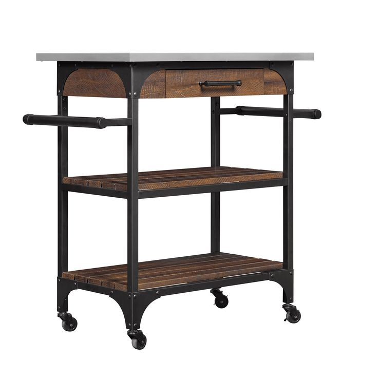 Bell'O Caraway Kitchen Cart with Stainless Steel Top, Saw Cut Espresso