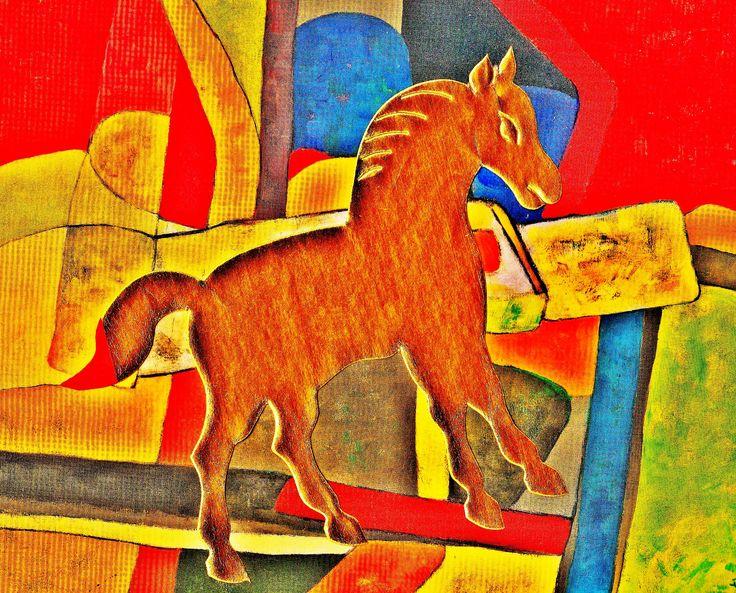 Pedro Meier – »A golden horse in the painting – No. III« – Mix Media artwork – 2017    https://www.instagram.com/pedro.meier/ http://www.pedro-meier-artist.ch/    Pedro Meier – Swiss-German Multimedia Artist