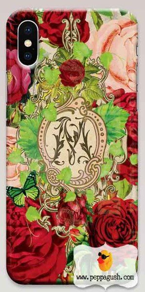 French rococo Monogram phone case perfect for a red hot valentine ❤️ made to order for iPhone and Samsung