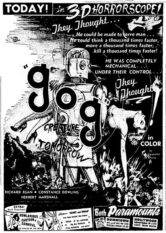 GOG, 1954 newspaper ad