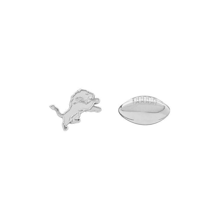 Detroit Lions Team Logo & Football Mismatch Stud Earrings, Women's, Silver