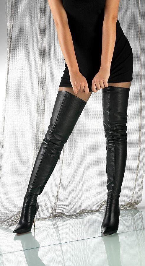 Thigh boots sweater dress
