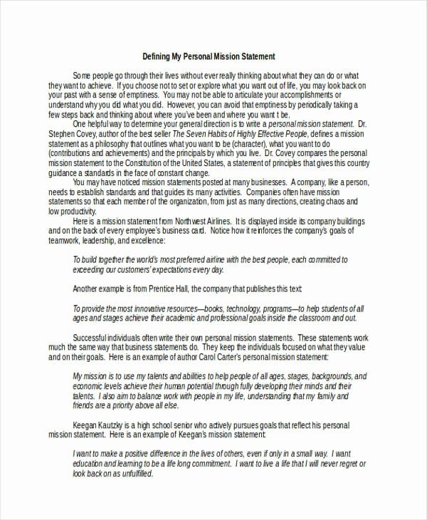 Professional Mission Statement Example Inspirational Free 34 Stateme Personal Template Commitment