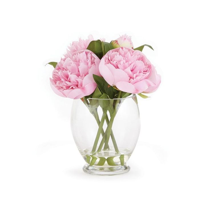 9'' Pink Peony Flower Arrangement in Clear Vase
