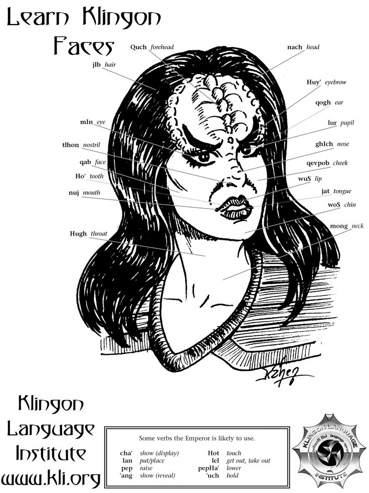 The Klingon Language Institute  · January 8 ·   Learn the Klingon words for different parts of the face!