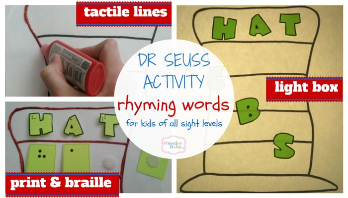 This Dr. Seuss rhyming and word-building activity encourages kids to explore the alphabet, letter sounds, and blends and is accessible to kids with vision or kids who are blind.