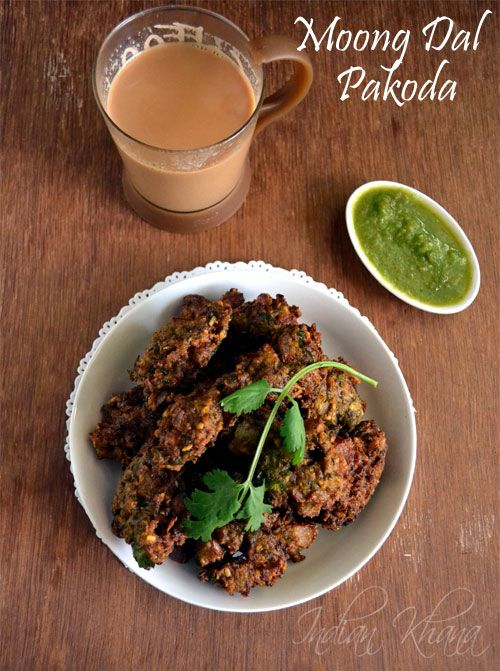Moong Dal Pakoda Recipe | Split Green Gram Fritters ....Crunchy outside and soft inside it's a treat with a cuppa during rainy days or just any day.
