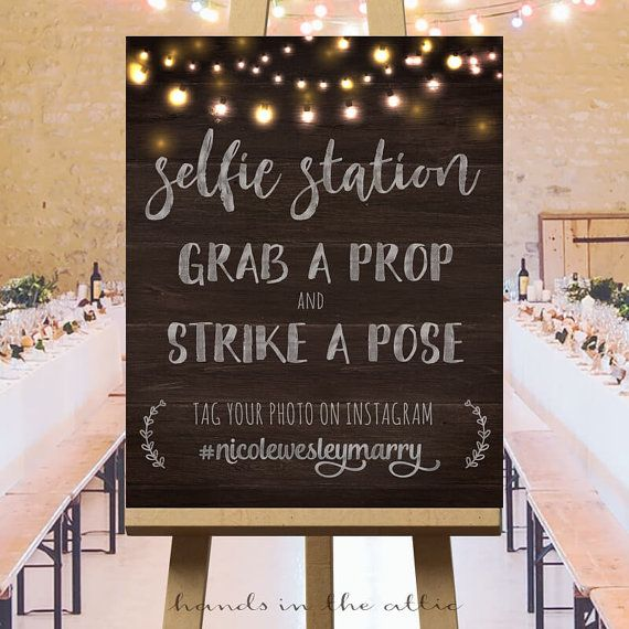 Wedding photos instagram wedding hashtag sign by HandsInTheAttic