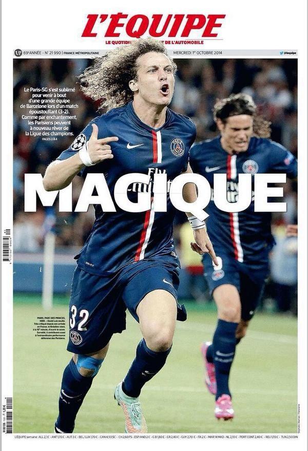 La belle Une de L'Equipe après PSG-Barça - http://www.actusports.fr/119919/belle-lequipe-apres-psg-barca/