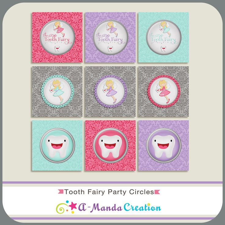 Printable tooth fairy party circles. These can be used as stickers, tags, cupcake toppers, envelope seals, you name it!  Just a cute way to add some extra fun into the tooth fairy magic.