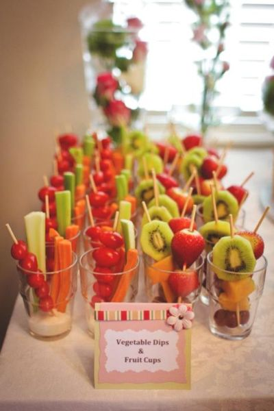 veggie and fruit cups with kabobs