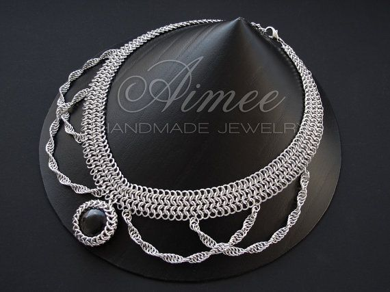 Stainless steel and glass chainmaille necklace  by AimeesJewelry, $109.90