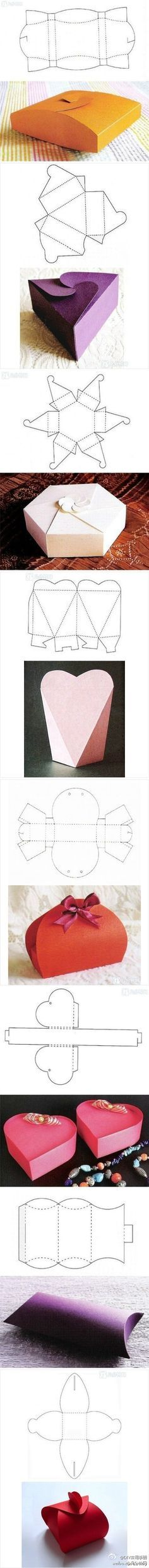 "Homemade Boxes~  These templates and examples have to be manipulated a bit for use.  However, once I found one I liked, I was able to ""Google"" a downloadable template.  For example, the second box from the bottom using purple paper, is called a ""pillow box.""  I found a template for that type of box at this link:     http://www.homemade-gifts-made-easy.com/gift-box-templates.html#.U1RQIFePROU"