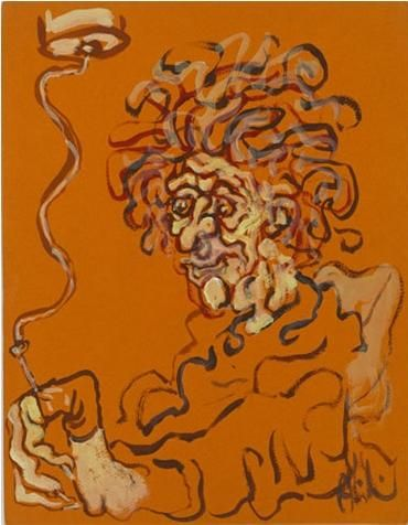 Drawing Pain - Self Portrait, 1967 by Abidin Dino. Expressionism. self-portrait