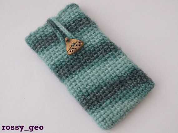 Green crocheted phone case iPhone 6 Galaxy S4 Galaxy by RossyGeo